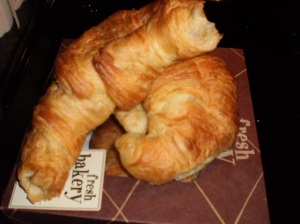 Making the croissants stale. Don't mind that missing corner. . .